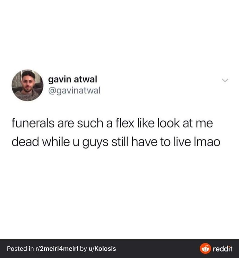 Text - gavin atwal @gavinatwal funerals are such a flex like look at me dead while u guys still have to live Imao reddit Posted in r/2meirl4meirl by u/Kolosis