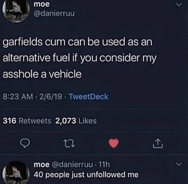 Text - moe @danierruu garfields cum can be used as an alternative fuel if you consider my asshole a vehicle 8:23 AM 2/6/19 - TweetDeck 316 Retweets 2,073 Likes moe @danierruu 11h 40 people just unfollowed me