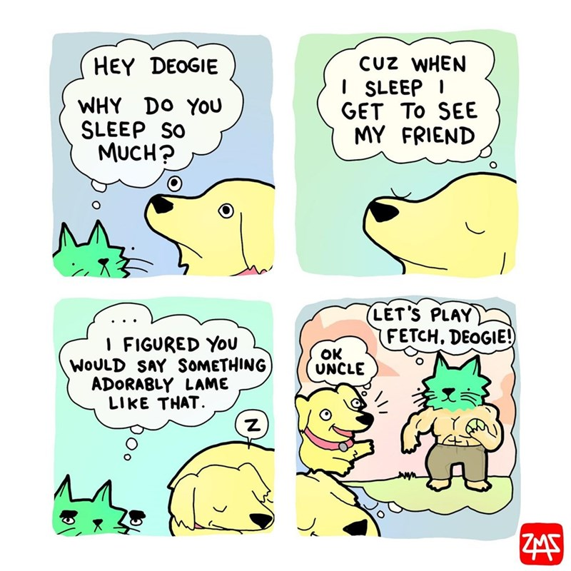 Cartoon - CUz WHEN I SLEEP I GET TO SEE MY FRIEND HEY DEOGIE WHY DO YOU SLEEP SO MUCH? LET'S PLAY FETCH, DEOGIE! I FIGURED YOU WOULD SAY SOMETHING ADORABLY LAME LIKE THAT. OK UNCLE ZMS