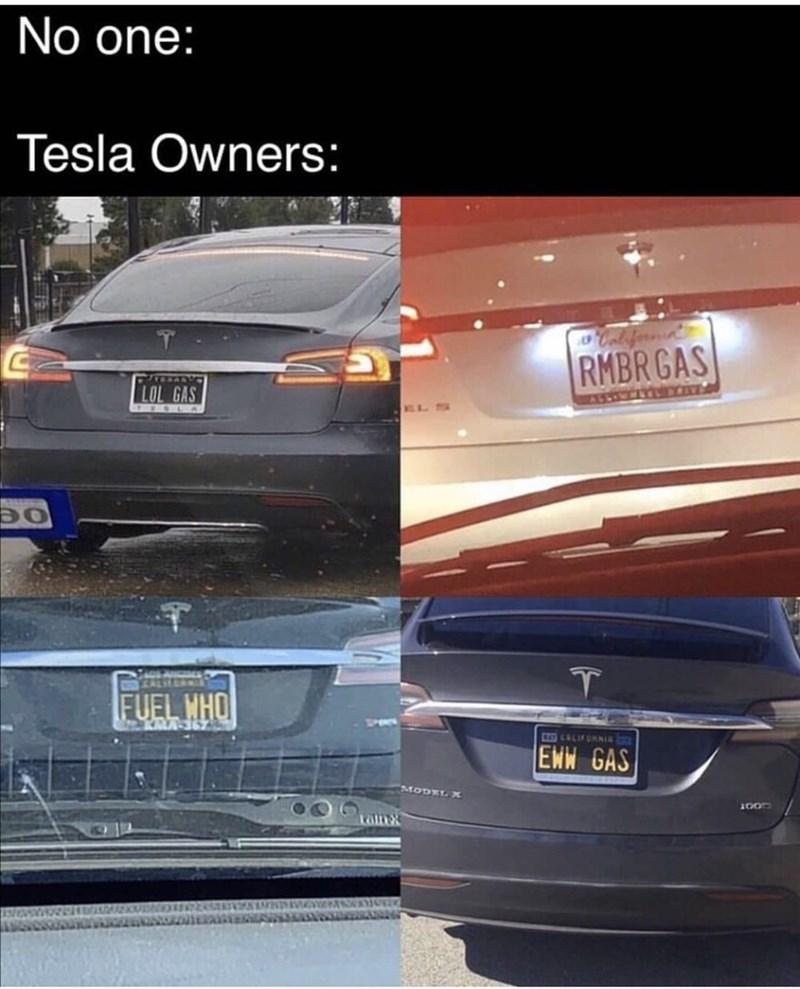 Vehicle - No one: Tesla Owners: Caleferonis RMBR GAS STERAN LOL GAS RSSINMELEV FUEL HHO C CALIFURNIE EWW GAS MODEL X Talnx