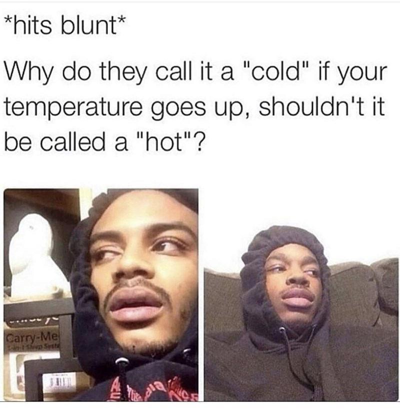 """Face - *hits blunt* Why do they cll temperature goes up, shouldn't it it a """"cold"""" if your be called a """"hot""""? Carry-Me T-1Sep Sesta"""