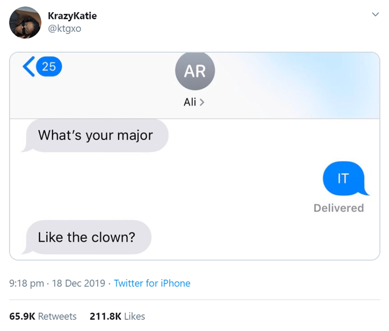 Text - KrazyKatie @ktgxo 25 AR Ali > What's your major IT Delivered Like the clown? 9:18 pm · 18 Dec 2019 · Twitter for iPhone 65.9K Retweets 211.8K Likes