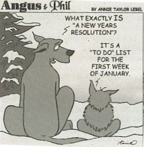 """Cartoon - Angus & Phil BY ANNE TAYLOR LEBEL WHAT EXACTLY IS """"A NEW YEARS RESOLUTION? IT'S A *TO DO"""" LIST FOR THE FIRST WEEK OF JANUARY."""