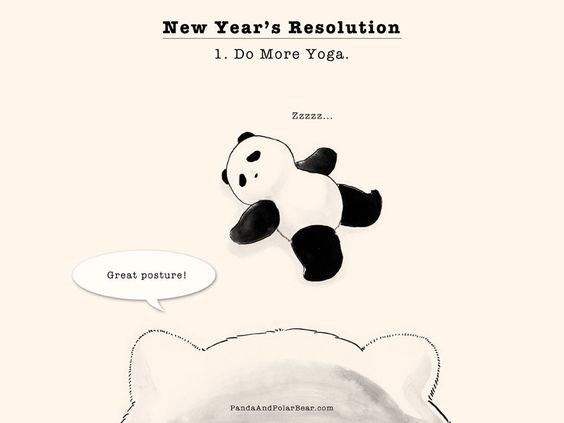 Nose - New Year's Resolution 1. Do More Yoga. Zzzzz... Great posture! PandaAndPolarBear.com