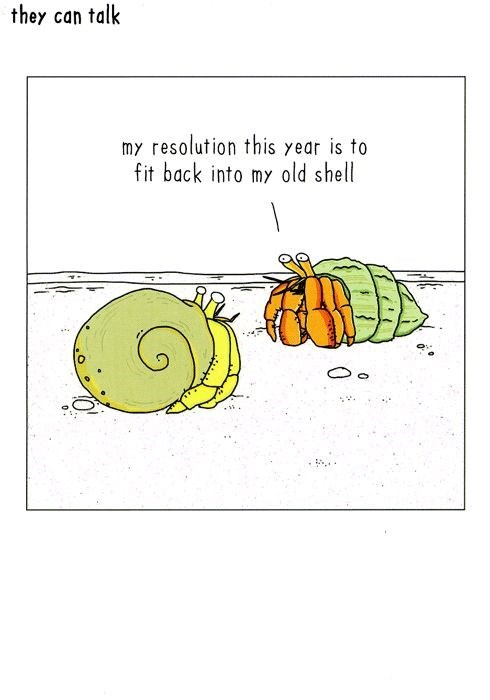 they can talk my resolution this year is to fit back into my old shell
