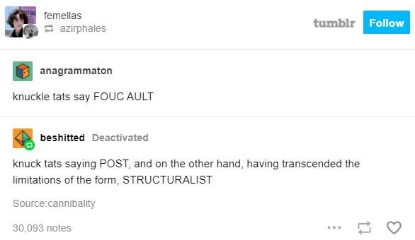 Text - femellas tumblr Follow E azirphales anagrammaton knuckle tats say FOUC AULT beshitted Deactīvated knuck tats saying POST, and on the other hand, having transcended the limitations of the form, STRUCTURALIST Source:cannibality 30,093 notes