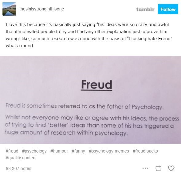 """Text - tumblr Follow thesinisstronginthisone I love this because it's basically just saying """"his ideas were so crazy and awful that it motivated people to try and find any other explanation just to prove him wrong"""" like, so much research was done with the basis of """"I fucking hate Freud"""" what a mood Freud Freud is sometimes referred to as the father of Psychology. Whilst not everyone may like or agree with his ideas, the process of trying to find 'better' ideas than some of his has triggered a hu"""