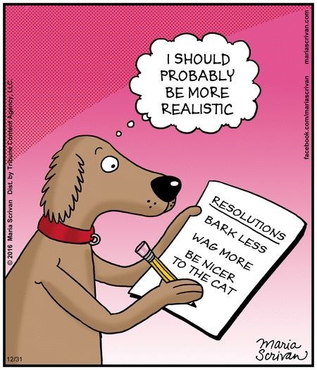Cartoon - Cartoon - I SHOULD PROBABLY BE MORE REALISTIC RESOLUTIONS BARK LESS WAG MORE BE NICER TO THE CAT maria Scrivan 12/31 O 2016 Maria Dist. by Tribune Content Agency, facebook.com/mariascrivan mariascrivan.com