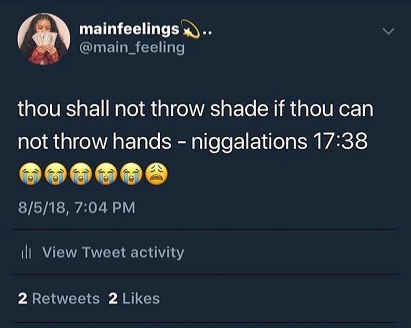 Text - mainfeelings @main_feeling thou shall not throw shade if thou can not throw hands - niggalations 17:38 8/5/18, 7:04 PM di View Tweet activity 2 Retweets 2 Likes
