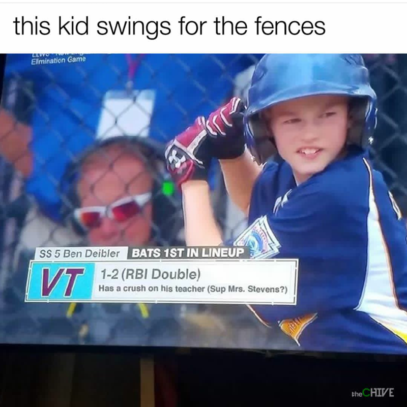 Text - this kid swings for the fences Elimination Game SS 5 Ben Deibler BATS 1ST IN LINEUP 1-2 (RBI Double) Has a crush on his teacher (Sup Mrs. Stevens?) VT the CHIVE