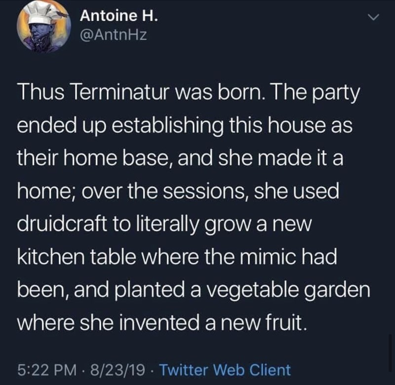 Text - Text - Antoine H. @AntnHz Thus Terminatur was born. The party ended up establishing this house as their home base, and she made it a home; over the sessions, she used druidcraft to literally grow a new kitchen table where the mimic had been, and planted a vegetable garden where she invented a new fruit. 5:22 PM · 8/23/19 · Twitter Web Client