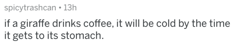 Text - spicytrashcan • 13h if a giraffe drinks coffee, it will be cold by the time it gets to its stomach.