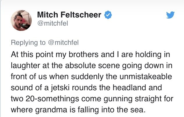Text - Mitch Feltscheer @mitchfel Replying to @mitchfel At this point my brothers and I are holding in laughter at the absolute scene going down in front of us when suddenly the unmistakeable sound of a jetski rounds the headland and two 20-somethings come gunning straight for where grandma is falling into the sea.