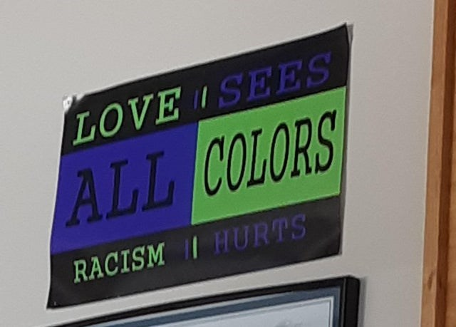 Text - LOVE ISEES ALL COLORS RACISM I HURTS