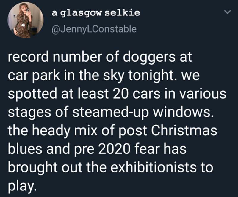 Text - a glasgow selkie @JennyLConstable record number of doggers at car park in the sky tonight. we spotted at least 20 cars in various stages of steamed-up windows. the heady mix of post Christmas blues and pre 2020 fear has brought out the exhibitionists to play.