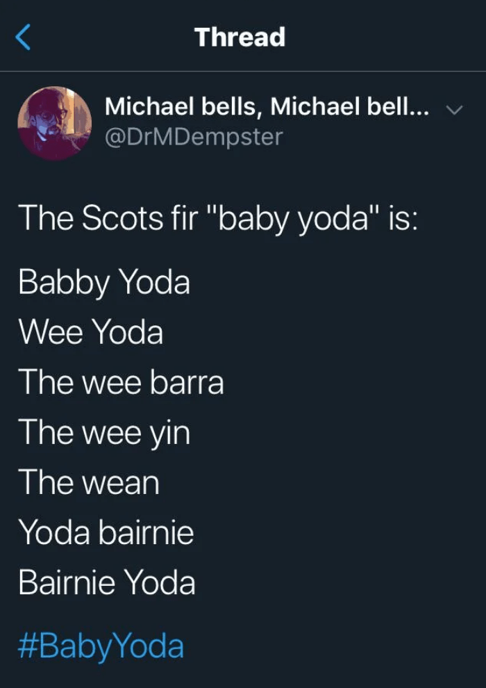 "Text - Thread Michael bells, Michael bell... @DrMDempster The Scots fir ""baby yoda"" is: Babby Yoda Wee Yoda The wee barra The wee yin The wean Yoda bairnie Bairnie Yoda #BabyYoda"