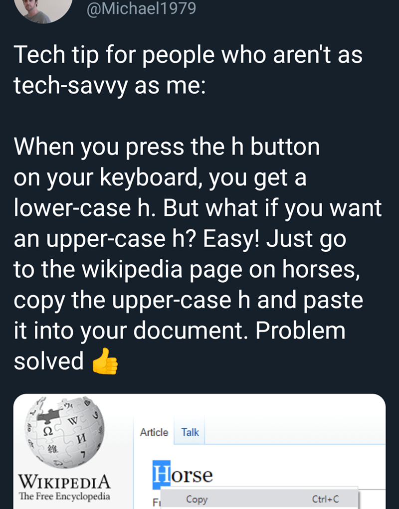 Text - @Michael1979 Tech tip for people who aren't as tech-savvy as me: When you press the h button on your keyboard, you get a lower-case h. But what if you want an upper-case h? Easy! Just go to the wikipedia page on horses, copy the upper-case h and paste it into your document. Problem solved ウィ Article Talk и Horse WIKIPEDIA The Free Encyclopedia Copy Ctrl+C Fi
