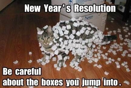 Photo caption - New Year's Resolution Be careful about the boxes you jump into.