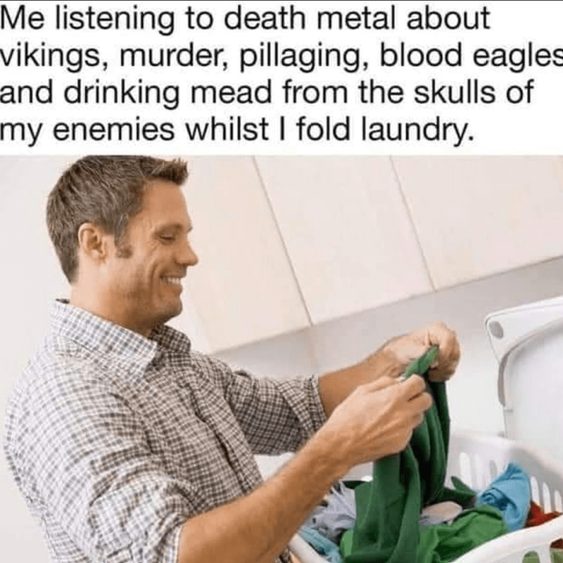 Organism - Me listening to death metal about vikings, murder, pillaging, blood eagles and drinking mead from the skulls of my enemies whilst I fold laundry.