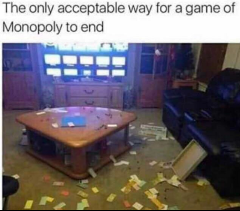 Games - The only acceptable way for a game of Monopoly to end