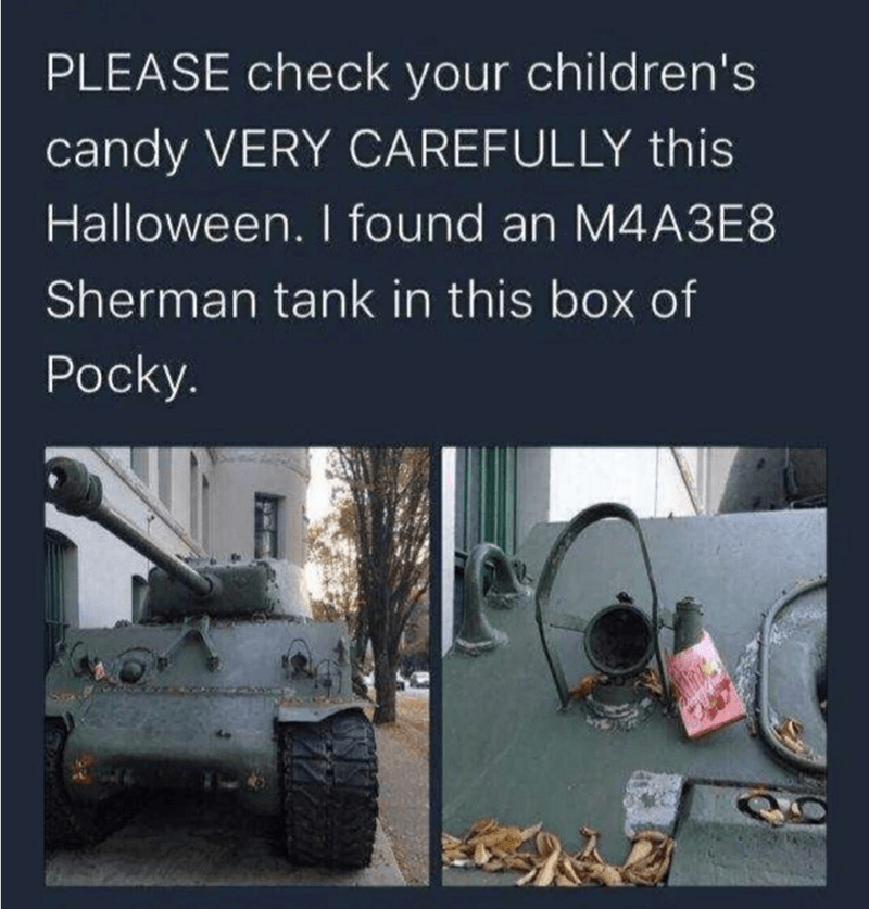 Tank - PLEASE check your children's candy VERY CAREFULLY this Halloween. I found an M4A3E8 Sherman tank in this box of Pocky.