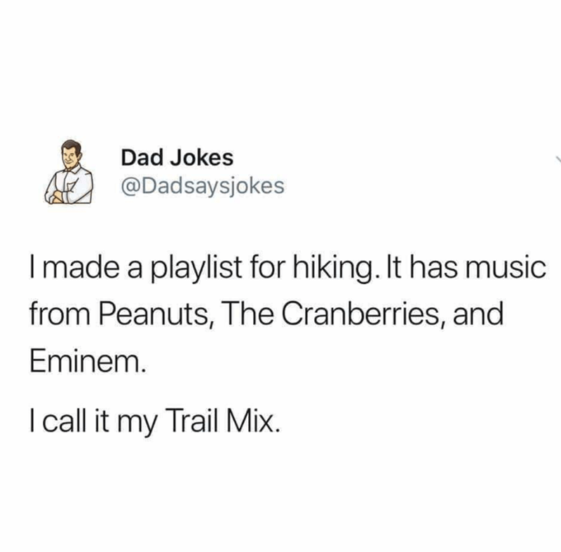 Text - Dad Jokes @Dadsaysjokes I made a playlist for hiking. It has music from Peanuts, The Cranberries, and Eminem. I call it my Trail Mix.
