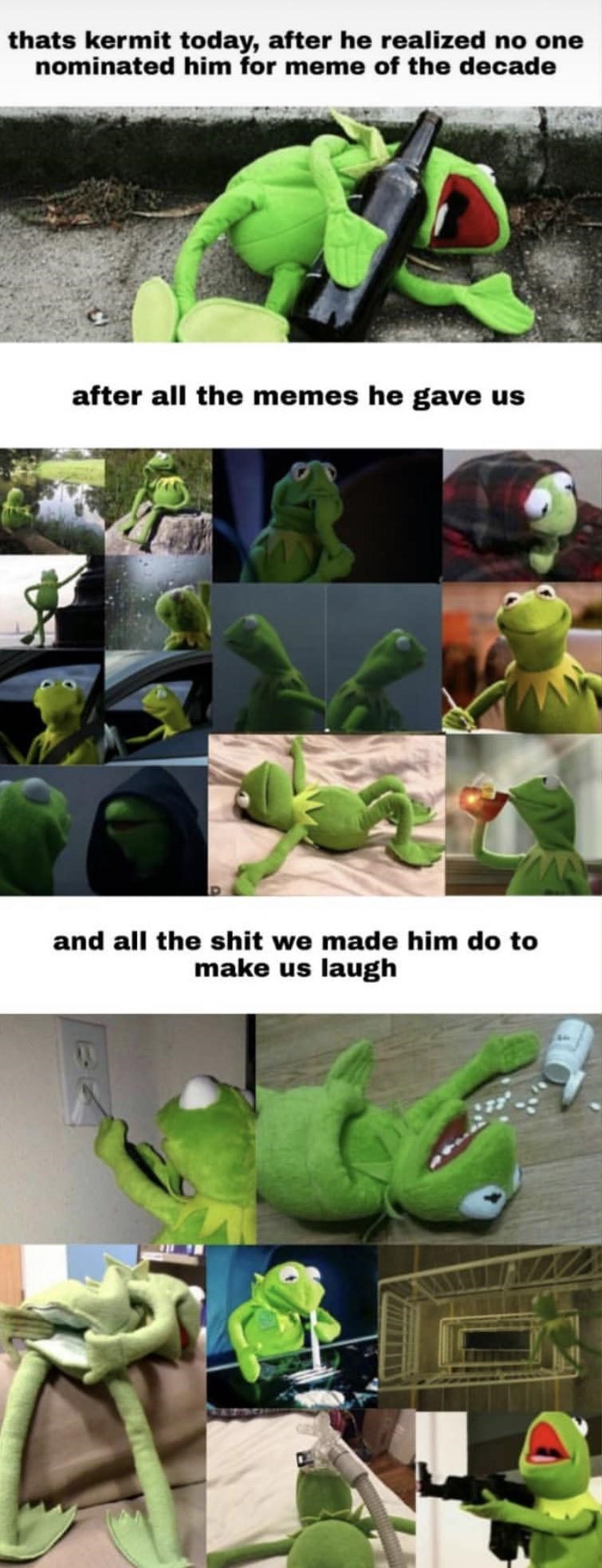 Leaf - thats kermit today, after he realized no one nominated him for meme of the decade after all the memes he gave us and all the shit we made him do to make us laugh