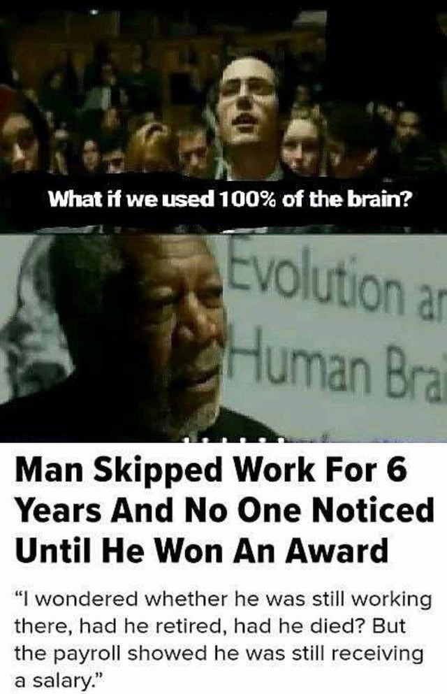 "People - What if we used 100% of the brain? Evolution an Human Brai Man Skipped Work For 6 Years And No One Noticed Until He Won An Award ""I wondered whether he was still working there, had he retired, had he died? But the payroll showed he was still receiving a salary."""