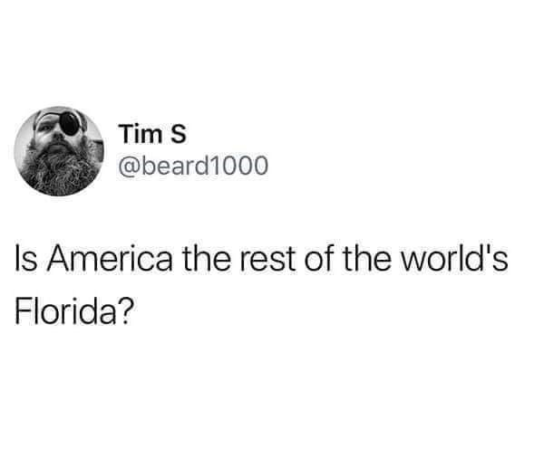 Text - Tim S @beard1000 Is America the rest of the world's Florida?