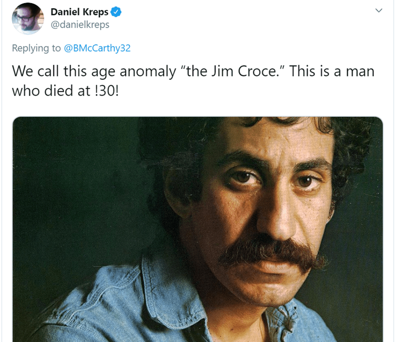 "Face - Daniel Kreps @danielkreps Replying to @BMcCarthy32 We call this age anomaly ""the Jim Croce."" This is a man who died at !30!"