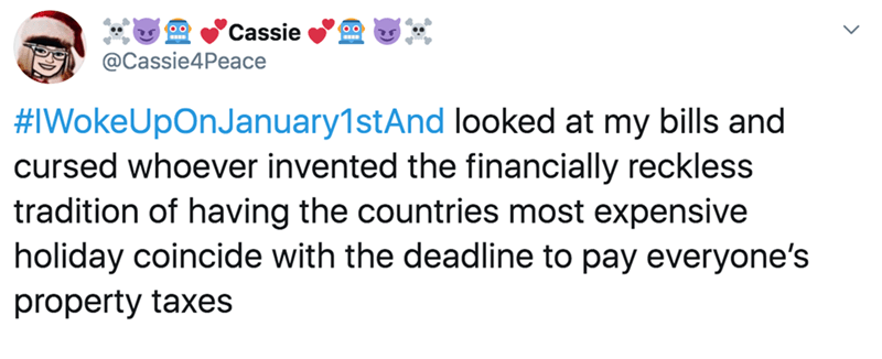 Text - Cassie @Cassie4Peace #IWokeUpOnJanuary1stAnd looked at my bills and cursed whoever invented the financially reckless tradition of having the countries most expensive holiday coincide with the deadline to pay everyone's property taxes