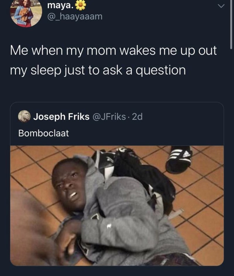 Text - maya. @_haayaaam Me when my mom wakes me up out my sleep just to ask a question Joseph Friks @JFriks · 2d Bomboclaat