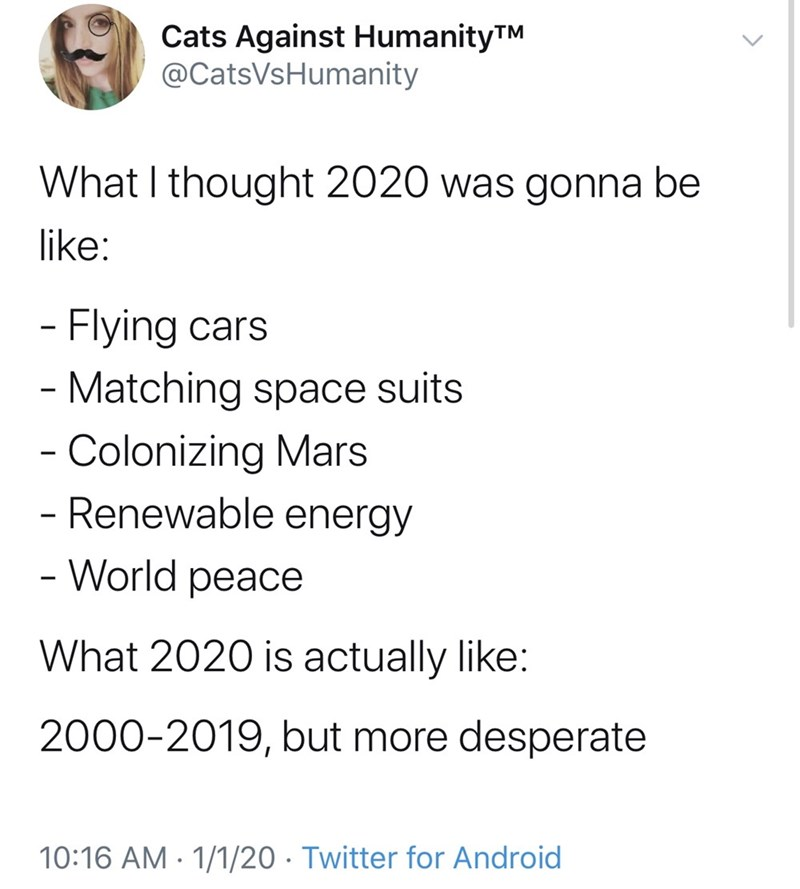 Text - Cats Against HumanityTM @CatsVsHumanity What I thought 2020 was gonna be like: - Flying cars - Matching space suits - Colonizing Mars Renewable energy - World peace What 2020 is actually like: 2000-2019, but more desperate 10:16 AM · 1/1/20 · Twitter for Android