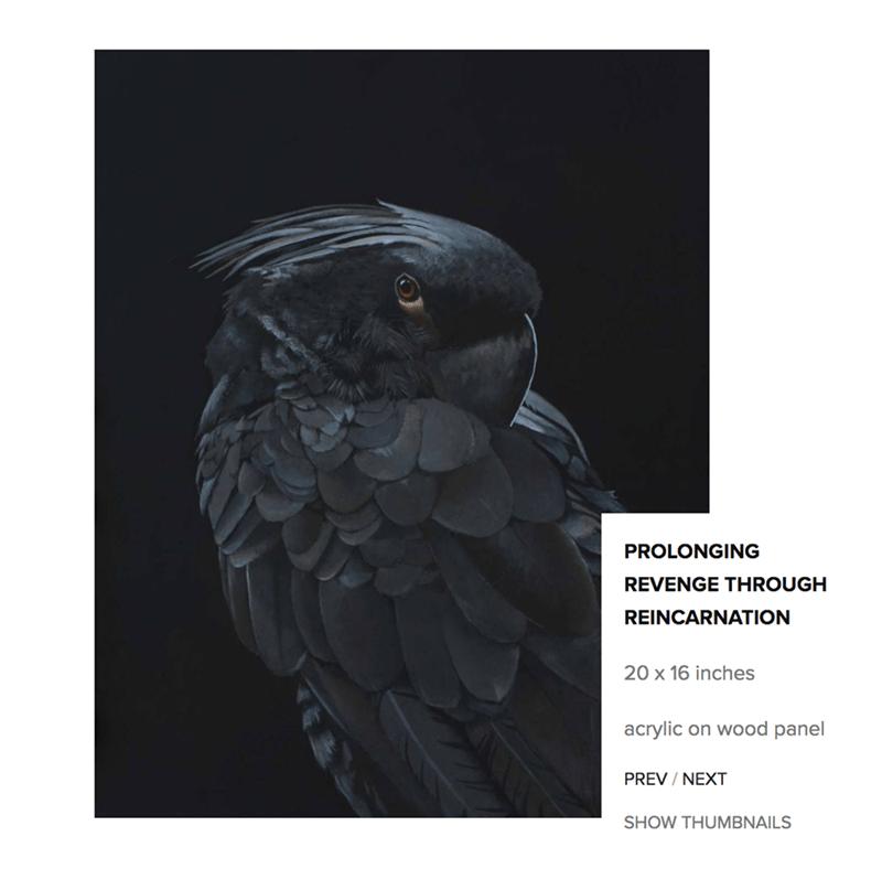 Bird - PROLONGING REVENGE THROUGH REINCARNATION 20 x 16 inches acrylic on wood panel PREV / NEXT SHOW THUMBNAILS