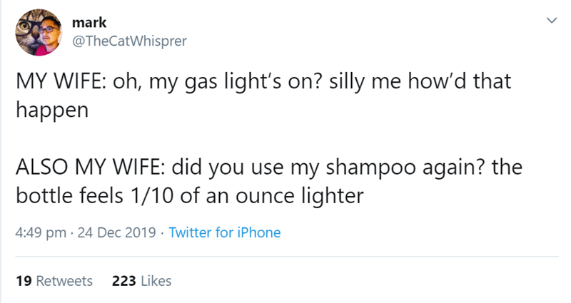 Text - mark @TheCatWhisprer MY WIFE: oh, my gas light's on? silly me how'd that happen ALSO MY WIFE: did you use my shampoo again? the bottle feels 1/10 of an ounce lighter 4:49 pm · 24 Dec 2019 · Twitter for iPhone 223 Likes 19 Retweets
