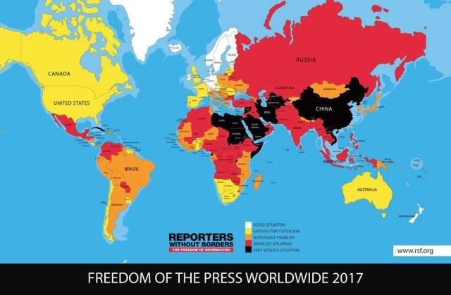World - RUSSIA CANADA UNITED STATES CHINA BIAZK AUSTRALIA 00STURTON SATSAETORY STiktIN ancriLE PaonDN DCT TUATON vnous smAnoN REPORTERS WITHOUT BORDERS www.rsf.org FREEDOM OF THE PRESS WORLDWIDE 2017