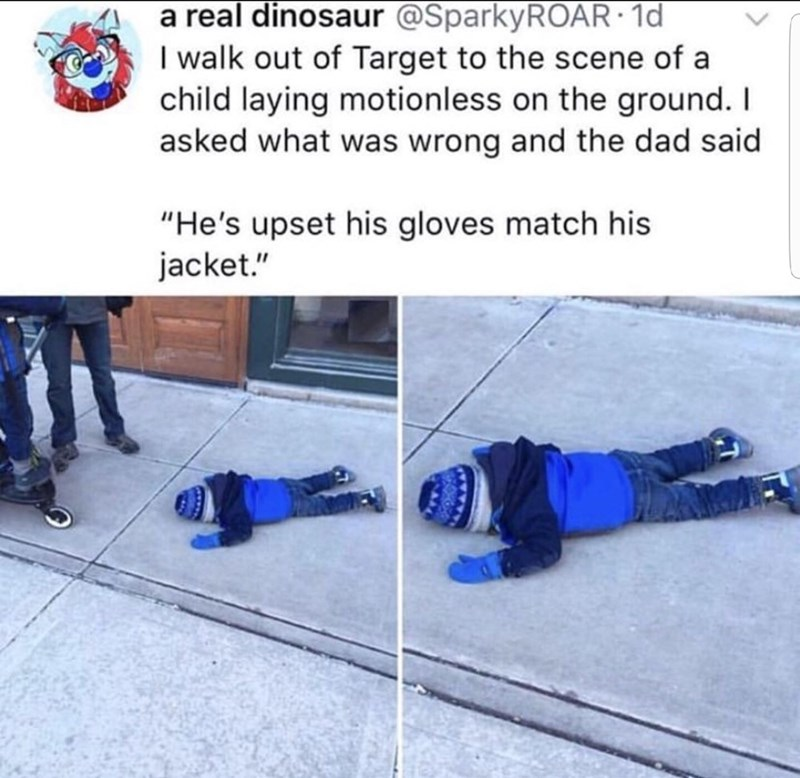 "Snow - a real dinosaur @SparkyROAR · 1d I walk out of Target to the scene of a child laying motionless on the ground. I asked what was wrong and the dad said ""He's upset his gloves match his jacket."""