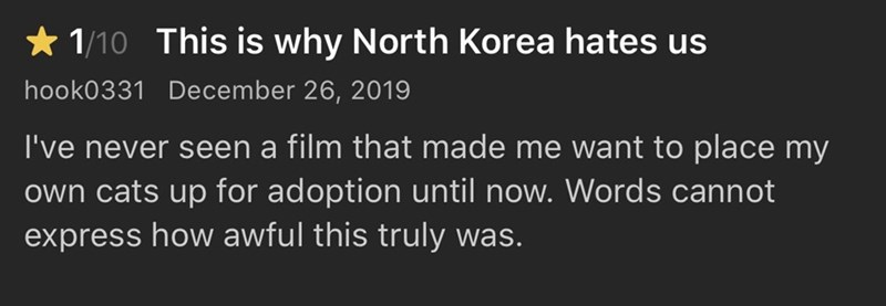 Text - * 1/10 This is why North Korea hates us hook0331 December 26, 2019 I've never seen a film that made me want to place my own cats up for adoption until now. Words cannot express how awful this truly was.