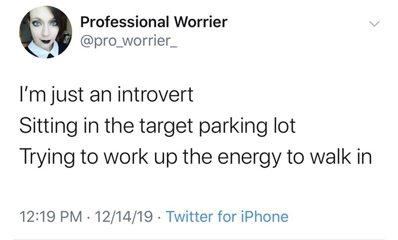 Text - Professional Worrier @pro_worrier_ I'm just an introvert Sitting in the target parking lot Trying to work up the energy to walk in 12:19 PM · 12/14/19 · Twitter for iPhone