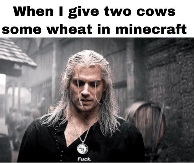 Text - When I give two cows some wheat in minecraft Fuck.