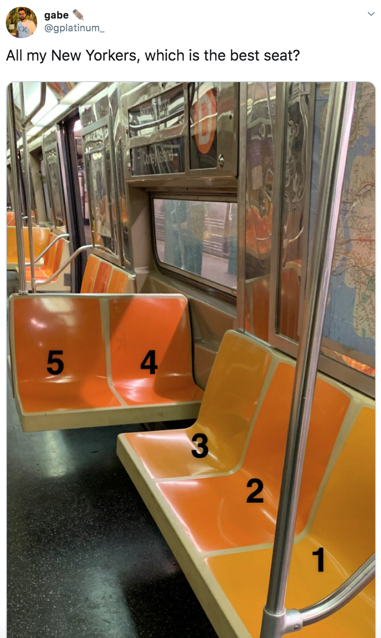 Transport - gabe @gplatinum_ All my New Yorkers, which is the best seat? 2.