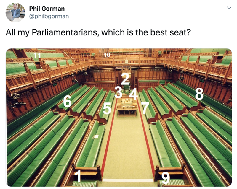 Metal - Phil Gorman @philbgorman All my Parliamentarians, which is the best seat?