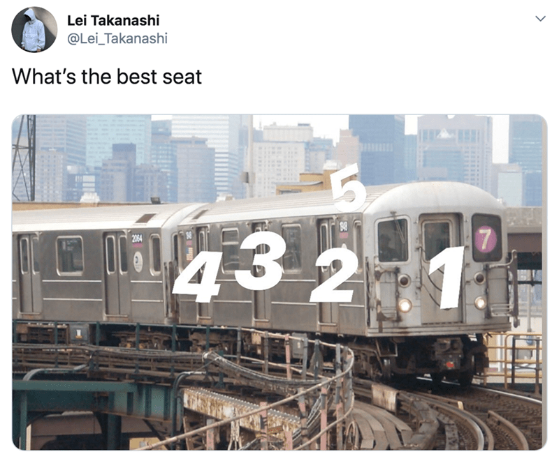 Transport - Lei Takanashi @Lei_Takanashi What's the best seat 4321 3 27 2064