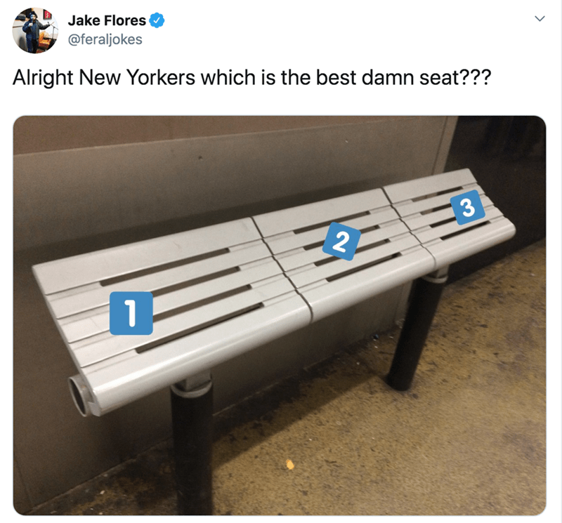 Product - Jake Flores @feraljokes Alright New Yorkers which is the best damn seat???