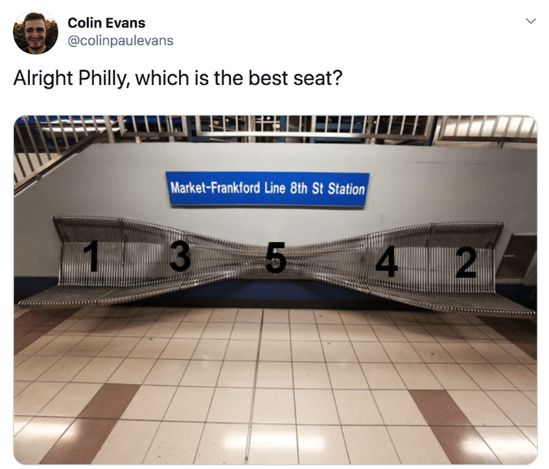 Infrastructure - Colin Evans @colinpaulevans Alright Philly, which is the best seat? Market-Frankford Line 8th St Station 4 2 13