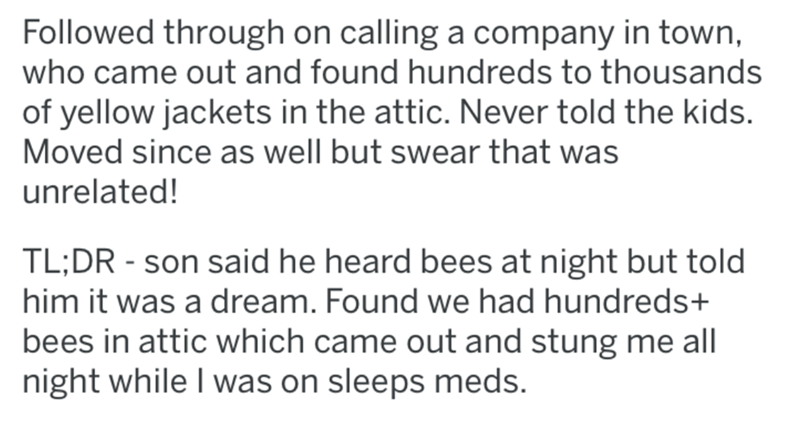 Text - Followed through on calling a company in town, who came out and found hundreds to thousands of yellow jackets in the attic. Never told the kids. Moved since as well but swear that was unrelated! TL;DR - son said he heard bees at night but told him it was a dream. Found we had hundreds+ bees in attic which came out and stung me all night while I was on sleeps meds.