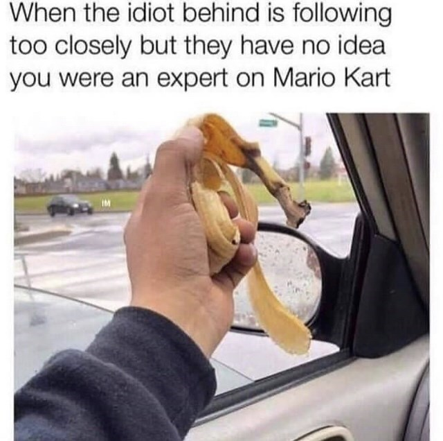 Vehicle door - When the idiot behind is following too closely but they have no idea you were an expert on Mario Kart