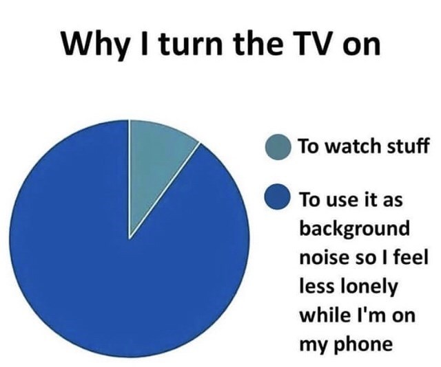 Text - Why I turn the TV on To watch stuff To use it as background noise so I feel less lonely while l'm on my phone
