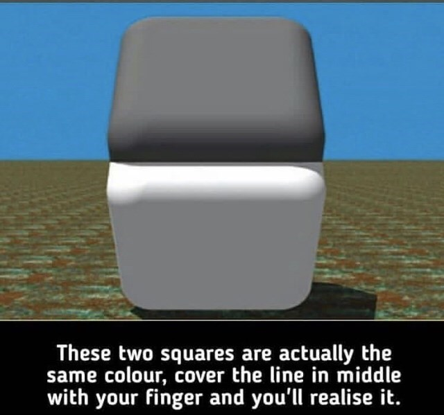 Chair - These two squares are actually the same colour, cover the line in middle with your finger and you'll realise it.