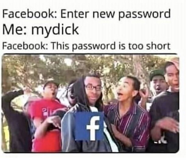 People - Facebook: Enter new password Me: mydick Facebook: This password is too short